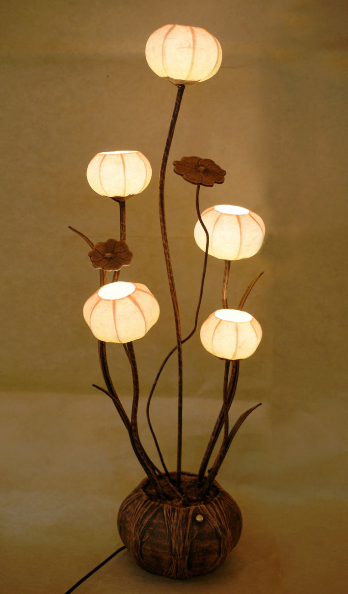 Paper Floor Lamp Shades With Five Flower Bud Lantern Lights Antique Alive