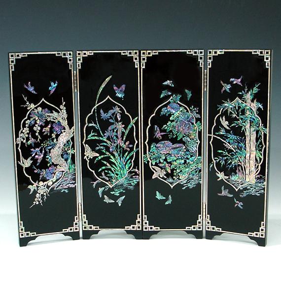 paravent miniature style asiatique bois noir laqu nacre d co art floral cor e ebay. Black Bedroom Furniture Sets. Home Design Ideas