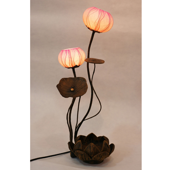 Superb Lady Table Lamp With Two Lotus Flower Buds Mulberry Paper Shades