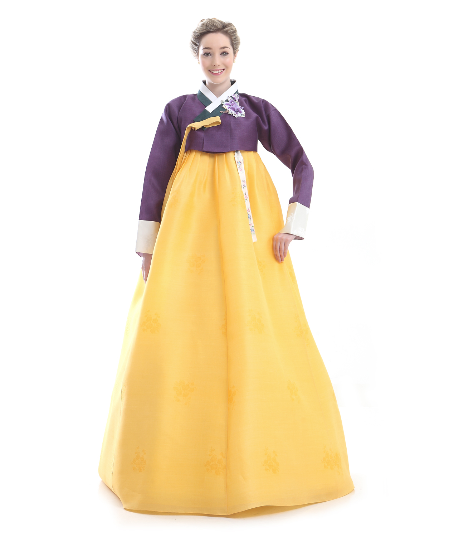 Custom Made Silk Yellow Purple Evening Hanbok Traditional