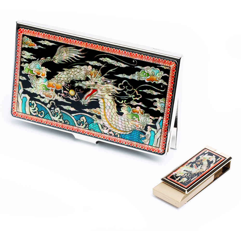 Mother of Pearl USB Memory Stick Business Card Case Set with Dragon ...