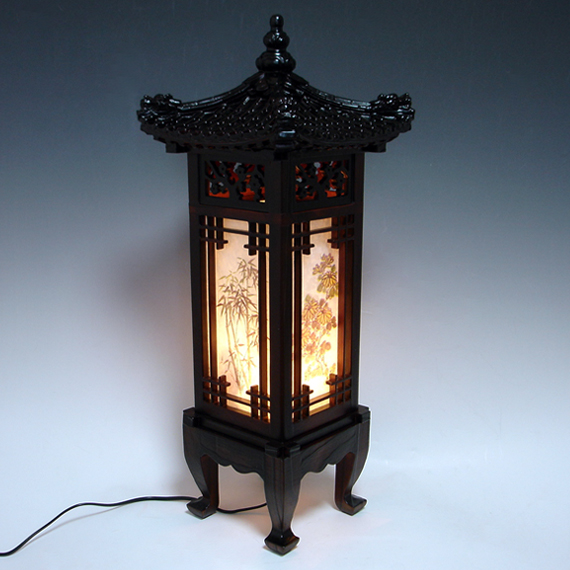 Wood Shade Asian Oriental House Lantern Bedside Dragon Art Deco Table
